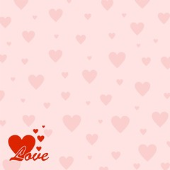 Pink valentine background with pink small and big red heart with the word love and five red hearts in the bottom left corner