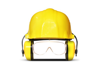 Construction helmet with earphones, goggles and respiration Wall mural