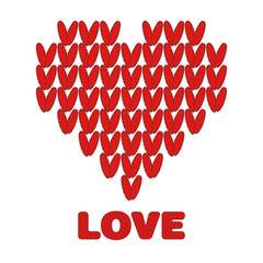 Knit knitted red heart on a white background. Vector illustration