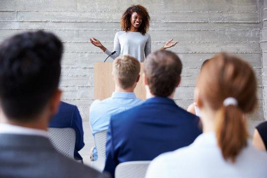 Businesswoman Addressing Delegates At Conference