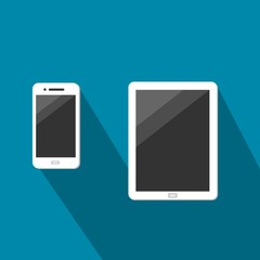 White Tablet And Smartphone With Dark Touchscreen Vector