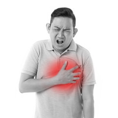 sick man suffering from heart attack