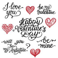 Valentine Day hand lettering set
