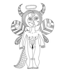 Vector illustration of mystic creature, nude woman with wings