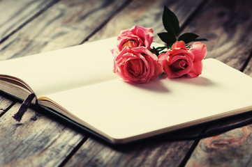 Elegant open book with pink roses