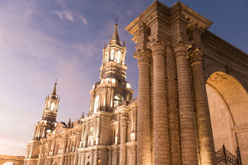 Arequipa, Peru: View of the Cathedral main church at the morning