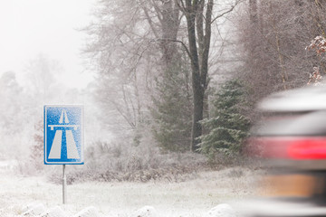 Dutch highway sign in winter