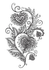 Vector hand drawn ornate floral pattern in zentangle style