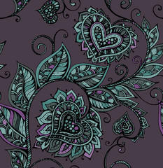 Vector seamless pattern with hand drawn ornate flowers
