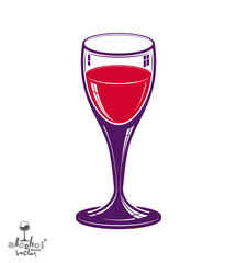 Realistic 3d wineglass, beverage theme illustration. Decorative