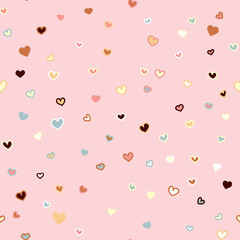 Girly pink seamless vector hand drawn pattern with hearts