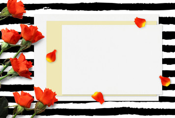 Beautiful Red Roses and Petals Mockup for presentations. Desktop workplace top view. Modern trend template for advertising. Product branding mockup. Mixed media