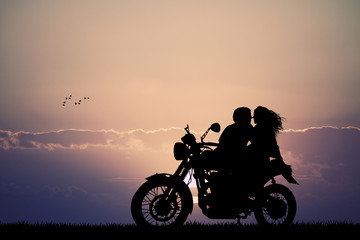 Fototapete - couple kissing on motorbike