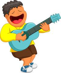 Little boy playing guitar