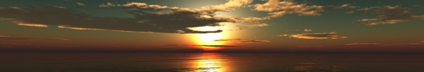 panoramic sunset over the sea, the sun in the clouds. clouds in the sky