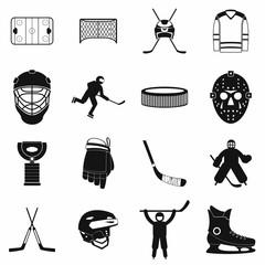 Hockey black simple icons set