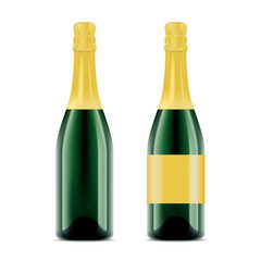 Green champagne bottle with gold foil. Vector illustration.