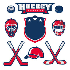 Hockey logo, emblem, label, badge design elements