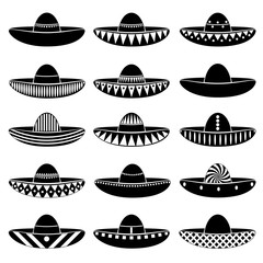 Mexico sombrero hat variations icons set eps10