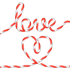 Greeting card with heart from rope. Concept can be used for Valentines Day, wedding or love confession message