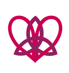 red heart with symbol of trinity on white background