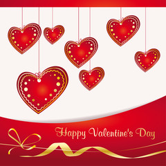 Valentine's background with red hearts