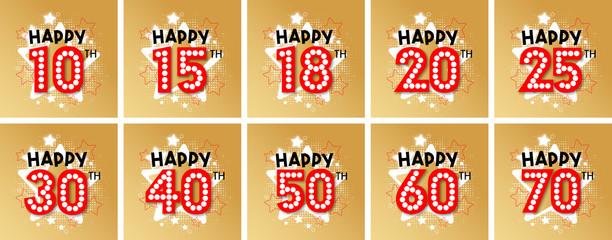 Happy 10th Birthday to Happy 70th Birthday