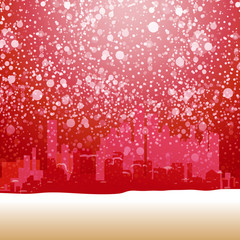 Red Holidays urban outdoor illustration with snow