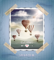 Valentine's day vintage greeting card with hot air balloons.