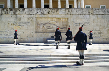 greek evzones, greek tsolias, guarding the presidential mansion in front of the tomb of the unknown soldier, army infantry