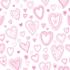 Seamless pattern with valentine hearts. Vector illustration