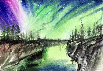 Beautiful Aurora landscape background with fir trees forest in far away. Original watercolor painting.