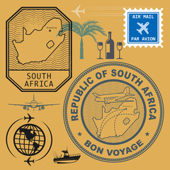 Stamps set with the name and map of South Africa