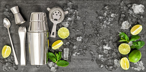 Accessories and ingredients for cocktail lime, mint, ice