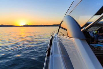 luxury motoryacht at sunset