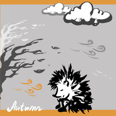 Sad hedgehog autumn, vector illustration