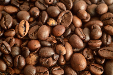 Coffee beans detail macro texture background