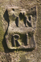 INRI inscription/INRI letters at an old tombstone