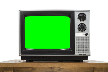 Analog Television on White with Chroma Key Green Screen