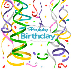 Vector birthday card with curling, confetti and serpantine