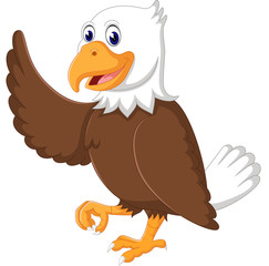 illustration of Cute eagle cartoon waving