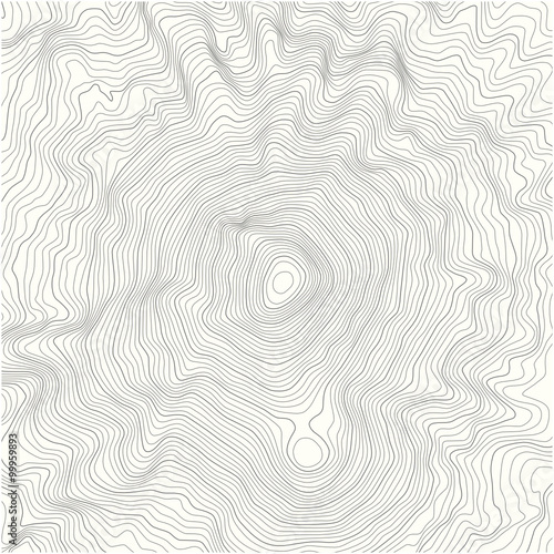 Topographic Map Of A Mountain.Detailed Topographic Map With Contour Lines Of A Mountain Stock