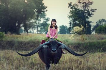 Asian woman (Thai) farmer with a buffalo in the field