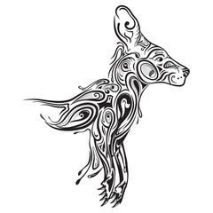 Kangaroo zentangle stylized, vector, illustration, freehand pencil