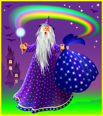 Wizard with magical wand and sac, vector image.