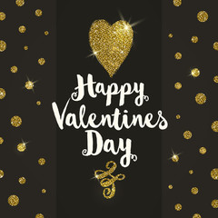 Valentines greeting card with glitter gold