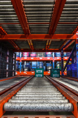 conveyor rollers in distribution warehouse