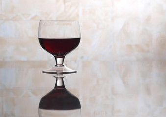 Glass of wine glasses on table