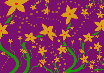 Beautiful flowers on the purple background.Pattern with flowers