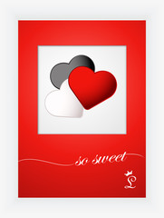 Valentines day card with hearts and words of love on white background